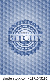 Bitchy blue emblem or badge with abstract geometric pattern background.