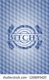 Bitchy blue hexagon emblem.