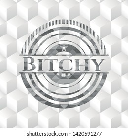 Bitchy grey badge with geometric cube white background