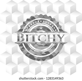 Bitchy grey emblem. Retro with geometric cube white background