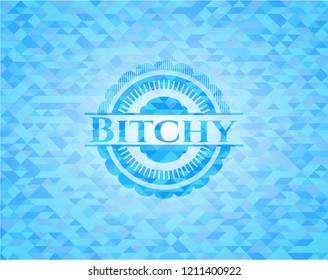 Bitchy light blue emblem with mosaic background