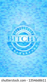 Bitchy light blue emblem with mosaic background