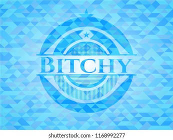 Bitchy realistic light blue mosaic emblem