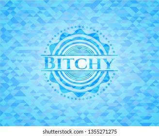 Bitchy realistic sky blue emblem. Mosaic background
