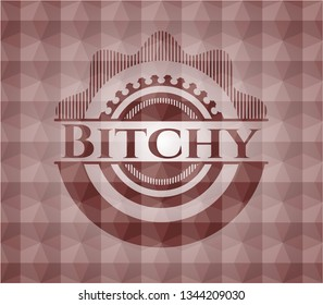 Bitchy red emblem with geometric pattern background. Seamless.