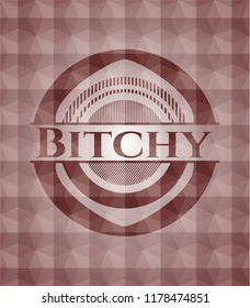 Bitchy red seamless geometric emblem.