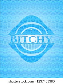 Bitchy sky blue water wave style emblem.