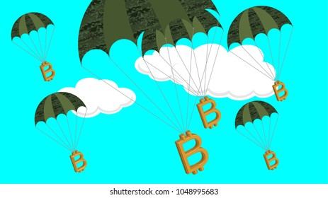 Bitcoi symbols attached to parachutes in military style with camouflage. Vector conceptual illustration of companies profiting the most from war or currency risks in investment. War is big business.