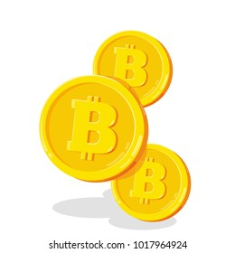 Bitcoin. 2D cartoon bit coin. Digital currency. Cryptocurrency. Golden coins with symbol isolated on white background. Stock vector illustration