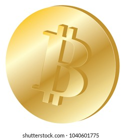 Bitcoin. 3D isometric Physical bit coin. Digital currency. Golden coins with bitcoin symbol isolated on white background. Stock vector illustration