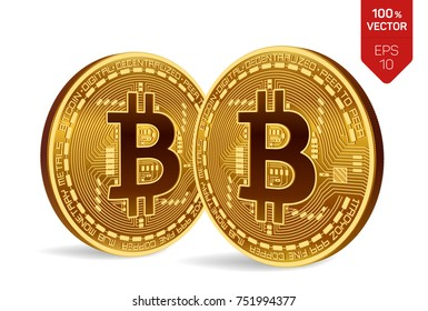 Bitcoin. 3D isometric Physical bit coin. Digital currency. Cryptocurrency. Two Golden coins with bitcoin symbol isolated on white background. Stock vector illustration