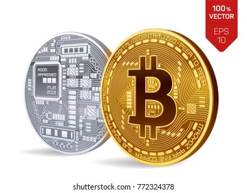 Bitcoin. 3D isometric Physical bit coin. Digital currency. Cryptocurrency. Golden and silver coins with bitcoin symbol isolated on white background. Stock vector illustration.