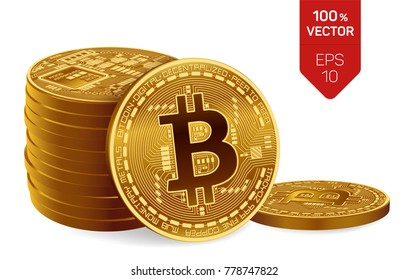 Bitcoin. 3D isometric Physical bit coin. Digital currency. Cryptocurrency. Three Golden coins with bitcoin symbol isolated on white background. Stock vector illustration.