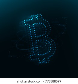Bitcoin 3d object consists of glowing blurred particles . Blockchain concept illustration . Bigdata visualization . Stock vector .