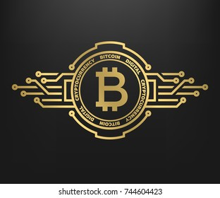 Bitcoin, abstract golden symbol of internet money. Digital Crypto currency symbol. Blockchain technology.