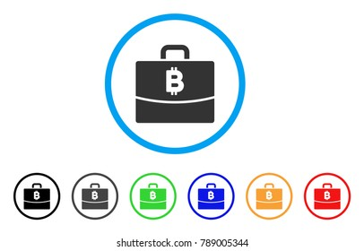 Bitcoin Accounting Case Rounded Icon Style Is A Flat Gray Symbol Inside Light Blue Circle