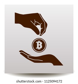 bitcoin accumulation Vector icon with hands on a realistic paper background with shadow.  Illustration in Flat design style. Image suitable for cryptomoney business