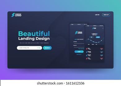 Bitcoin App Website Landing Page Vector Template Design