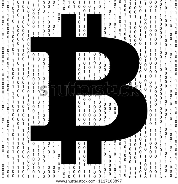 Bitcoin Background Crypto Currency Binary Code Stock Vector
