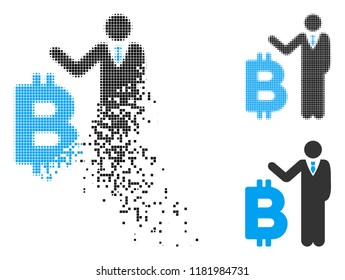 Bitcoin banker icon in dispersed, dotted halftone and undamaged versions. Elements are composed into vector dispersed Bitcoin banker icon. Disappearing effect uses square particles.
