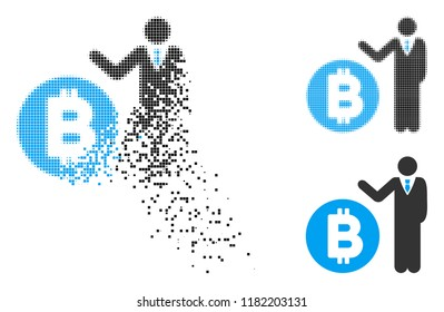 Bitcoin banker icon in fragmented, dotted halftone and whole variants. Particles are grouped into vector dissipated Bitcoin banker icon. Disappearing effect involves square scintillas.
