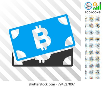 Bitcoin Banknotes pictograph with 700 bonus bitcoin mining and blockchain pictures. Vector illustration style is flat iconic symbols design for crypto-currency websites.