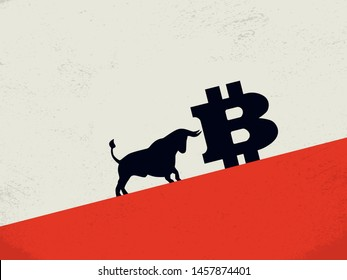 Bitcoin bearish market vector concept with bull pushing bitcoin up to growth. Symbol of financial investment in cryptocurrency, blockchain trading. Buying btc, value rise. Eps10 illustration.