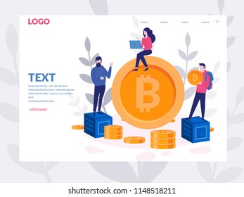Bitcoin Blockchain Concept for web page, banner, presentation, social media, smart team. Vector illustration making investments for bitcoin and blockchain. mining farm, cryptocurrency, server room