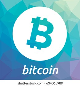 Bitcoin blockchain crypto currency coin flat vector logo, icon for web, sticker for print.