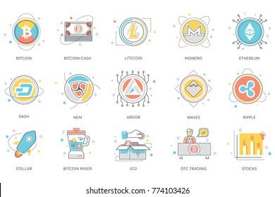 Bitcoin, blockchain & cryptocurrency flat icons. Including bitcoin cash, litecoin, monero, ethereum, dash, nem, ardor, waves, ripple, stellar, mixer, ico, otc trading, stocks vector illustration.