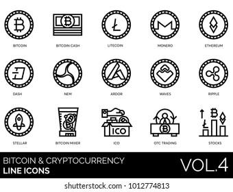 Bitcoin, blockchain & cryptocurrency line icons. Including bitcoin cash, litecoin, monero, ethereum, dash, nem, ardor, waves, ripple, stellar, mixer, ico, otc trading, stocks vector illustration.