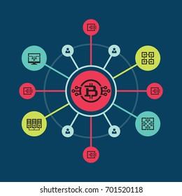 Bitcoin blockchain modern technology - creative vector illustration. Cryptocurrency digital money concept symbol. Graphic design element.