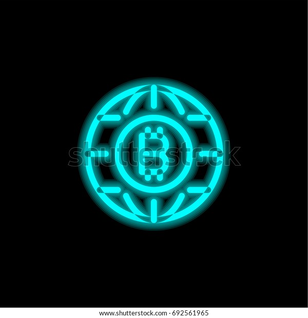 Bitcoin blue glowing neon ui ux icon. Glowing sign logo vector
