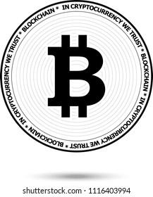 Bitcoin BTC. Crypto currency coin. Vector Illustration