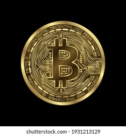 Bitcoin (btc) sign icon for internet money. Crypto currency symbol isolated
