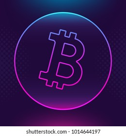 Bitcoin Btc vector outline icon. Cryptocurrency, e-currency payment crypto currency, blockchain button. Trendy Bright lighting logo adaptation design web site mobile app, EPS. Ultra violet background