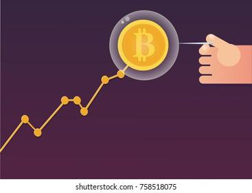 bitcoin bubble concept. vector illustration