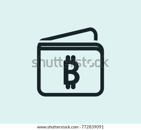 Bitcoin Buy Wallet Icon Cryptocurrency Line Isolated On Clean Background Purse Concept Drawing