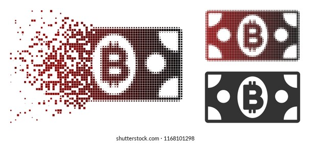 Bitcoin cash banknote icon in dispersed, pixelated halftone and undamaged solid versions. Particles are arranged into vector sparkle Bitcoin cash banknote icon.