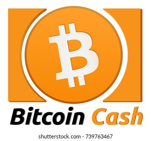 Bitcoin Cash Symbol. Realistic label of cryptocurrency. Blockchain finance symbol. Vector Illustration isolated on white background.
