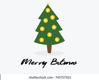 Bitcoin Christmas card. Merry Crypto. Happy holidays. Money growing New Year wishes. Christmas tree, decorated with Bitcoin ornament balls.