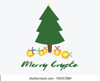 Bitcoin Christmas card. Christmas tree with gifts underneath.