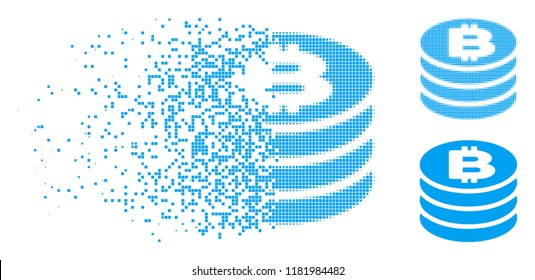 Bitcoin coin column icon in dispersed, pixelated halftone and entire versions. Pixels are composed into vector disappearing Bitcoin coin column icon. Disappearing effect uses square dots.