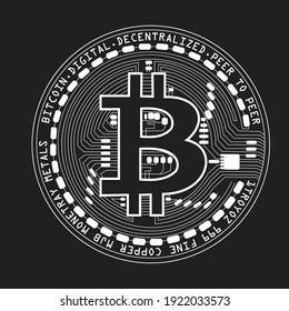 Bitcoin coin. Crypto currency coin bitcoin symbol isolated on black background. Vector illustration.