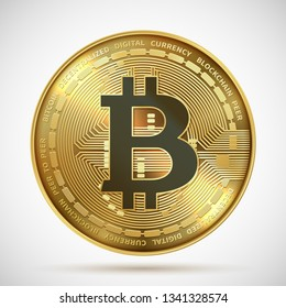 Bitcoin coin. Cryptocurrency golden money digital blockchain symbol isolated on white. Vector crypto gold coin