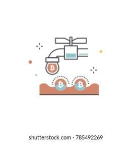 Bitcoin coin faucet concept vector illustration. Bitcoin pipe icon.