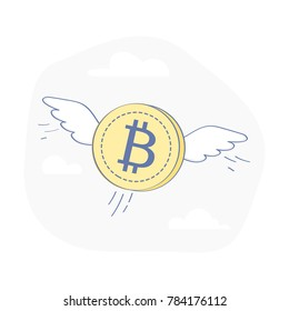Bitcoin Coin Flies Through the Clouds with Wings, Crypto Currency Growing concept. Business concept, flat outline cartoon vector Illustration.