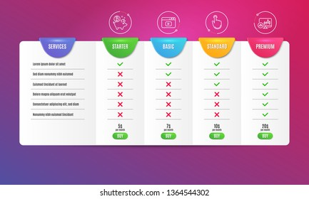 Bitcoin coin, Hand click and Video content icons simple set. Comparison table. Candlestick chart sign. Piggy bank, Location pointer, Browser window. Report analysis. Business set. Pricing plan. Vector
