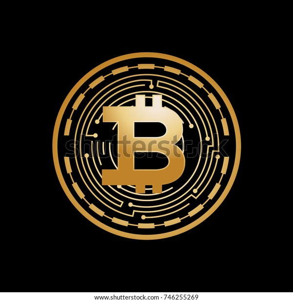 bitcoin coin icon, bitcoin currency, gold bitcoin, bitcoin with circuit lines, symbol design, isolated on white background.