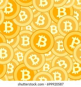 bitcoin coins seamless pattern. Vector illustration